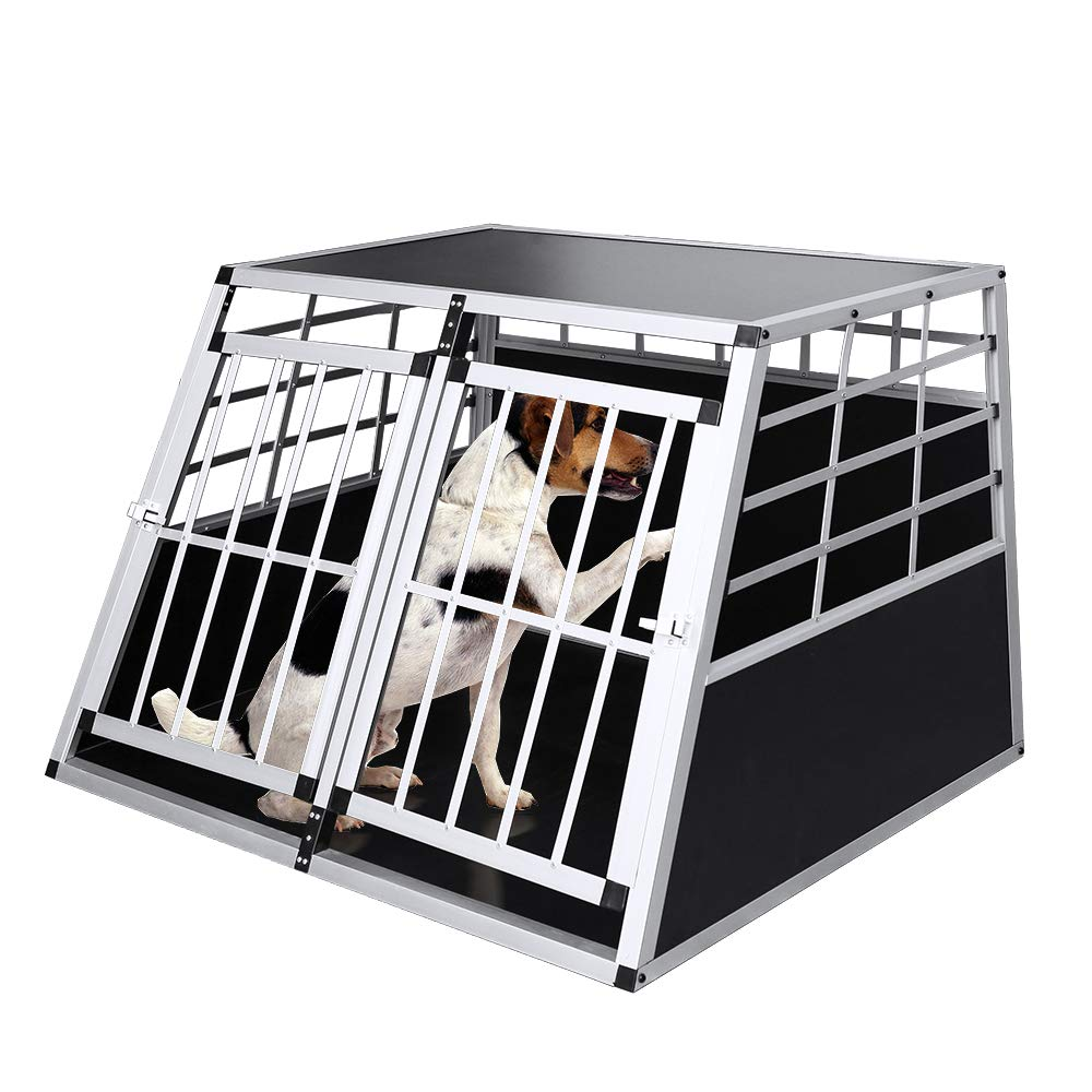 Alu Transportbox Gr/ö/ße L Langlebig praktisch Gitterbox Aluminium Auto VINGO Transportbox gro/ße Hunde Hundetransportbox