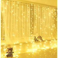 Yizhet Luces de Cadena de Cortina, 3x3m 300 Cortina Luces LED Luz de Cortina USB con Mando a Distancia 8 Modos de Luz, Resistente al aguapara para Decoración Ventana,Navidad,Fiestas (Blanca Cálida)