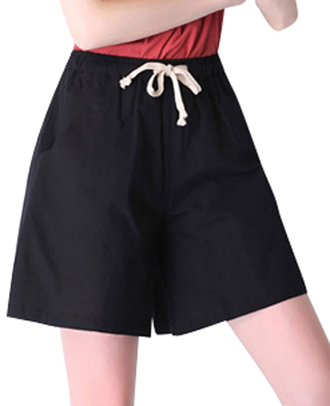 M Black Qiuse Women's Casual Wide Legs Elastic Waist with Drawstring Bermuda Shorts