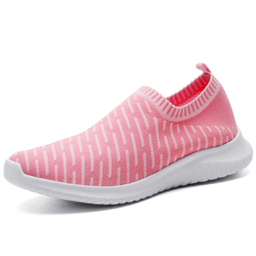 KONHILL Women's Lightweight Casual Walking Athletic Shoes Breathable Mesh Running Slip-on Sneakers B079Z5KXMC 6.5 B(M) US|2108 Pink