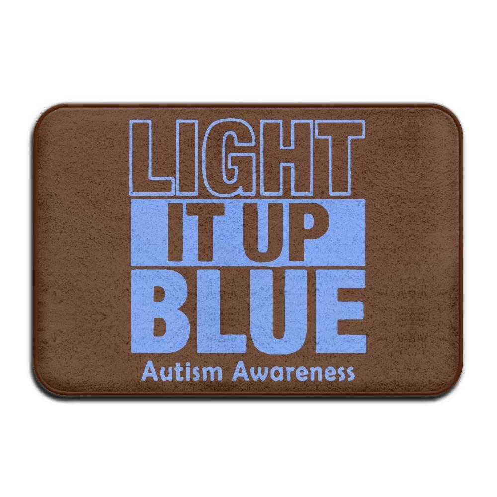 Light It Up Blue Autism Support Antiskid Outdoor Doormat Pet Feeding Rug