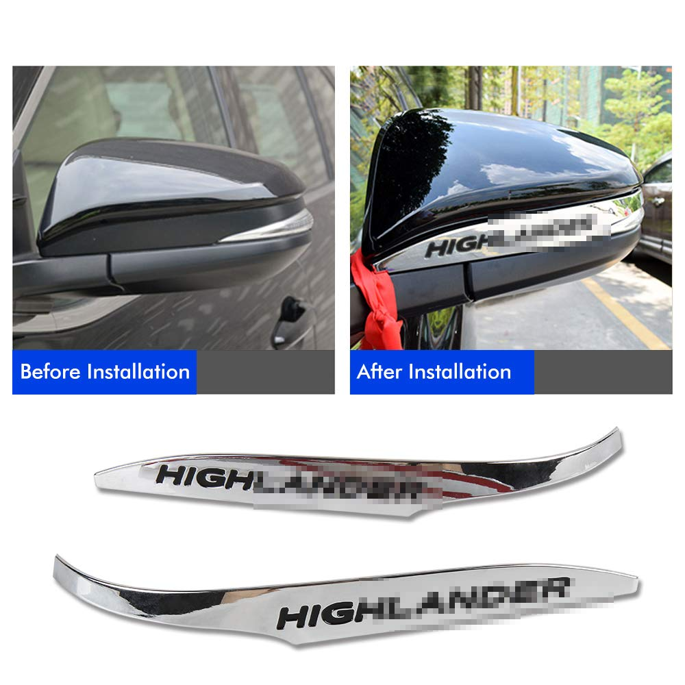 Easy Eagle 2pcs ABS Chrome Rearview Side Mirror Cover Trim Strip Emblems Fit For Toyota Highlander 2015 2016 2017 2018