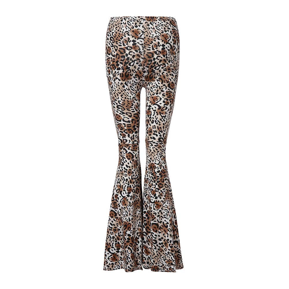 LOVELYOU Femme Évasée Legging Pantalon Loose Longues Palazzo Mode Imprimé Léopard Taille Haute Denim Casual Slim Travail Printemps Automne