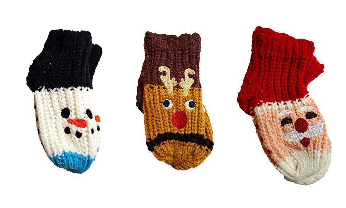 Set of 3 Twos Company Knitted Cozy Toes Kids Slipper Socks, Red Nosed Reindeer, Santa and Snowman by Cupcakes and cartwheels