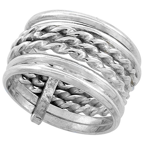 Sterling Silver 7 Day Ring Twisted & Round Wire Handmade 1/2 inch wide, size 8