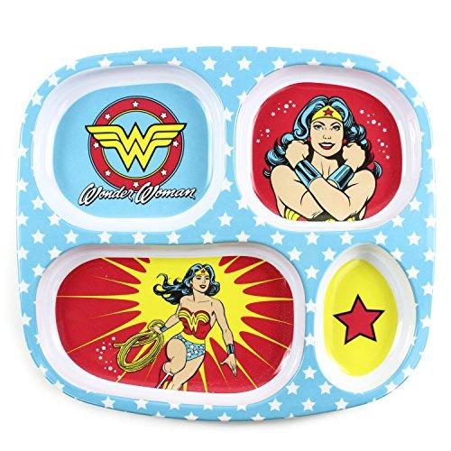 - Bumkins DC Comics Wonder Woman Divided Plate, Melamine Tray Plate, Toddler, Kids, BPA Free, Stackable, Dishwasher Safe