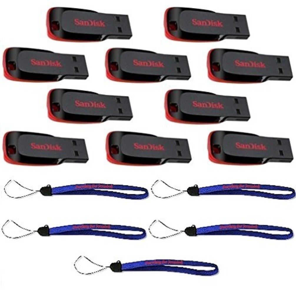 SanDisk Cruzer Blade 32GB (10 pack) USB 2.0 Flash Drive Jump Drive Pen Drive SDCZ50-032G - Ten Pack w/ (5) Everything But Stromboli (TM) Lanyard