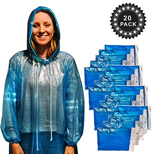 Emergency Disposable plastic rain ponchos - Adult 20 pack - drawstring hood and elastic sleeves for maximum water blockage - Perfect for Travel, Theme Parks, Hiking, Fishing, Sports, and Concerts
