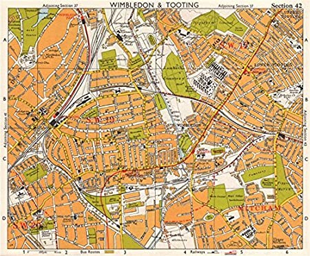 London Sw Map.Sw London Wimbledon Tooting Merton Morden Upper Mitcham Bacon