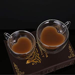 2 Pcs/Set Heart Shaped Double Wall Glass Milk Lemon Juice Cup Tea Mug Lover Coffee Cups Drinkware for Home Party