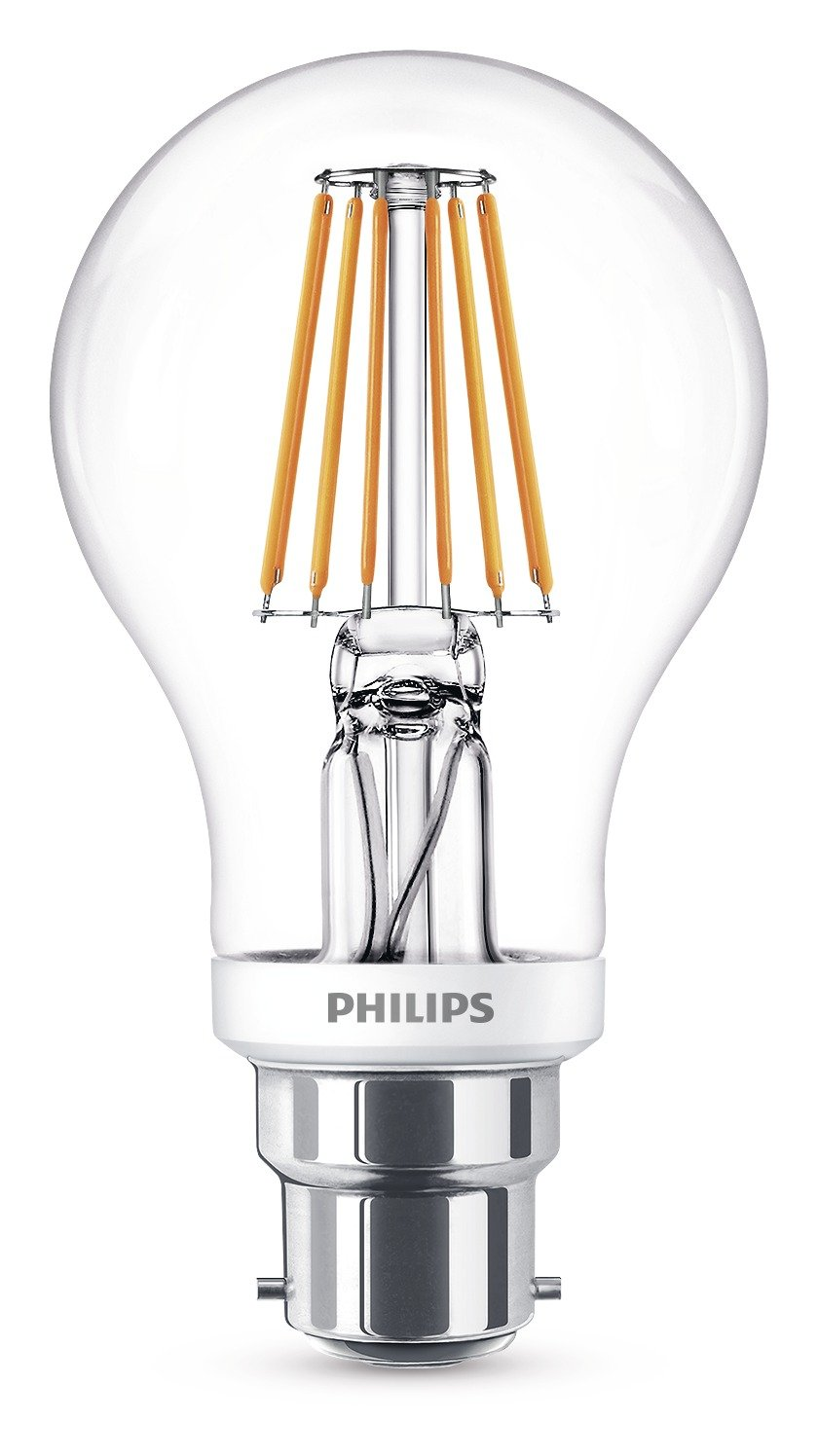 Philips led classic dimmable b22 bayonet cap clear filament light philips led classic dimmable b22 bayonet cap clear filament light bulb 75 w 60 w warm white philips amazon lighting parisarafo Images
