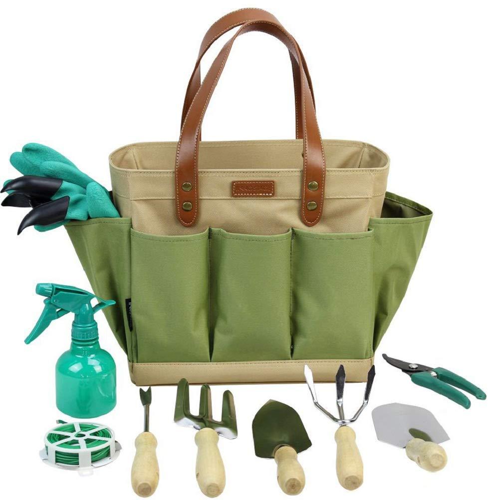 INNO STAGE Garden Tool Organizer Tote Bag with 10 Piece Garden Tools,Best Gardening Gift Set,Vegetable Garden Tool Kit,Gardening Hand Tools Set Bag with Garden Digging Claw Gardening Gloves