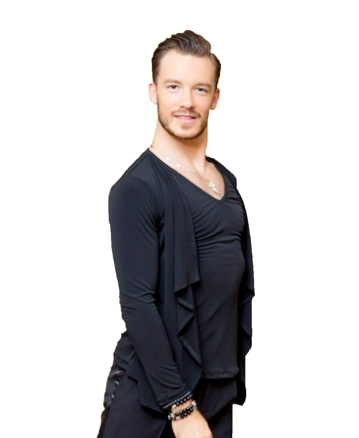SuperStar Series:G5012 latin ballroom dance professional simulated two-piece design tops/shirt for men ((SBS) black, M) by SCGGINTTANZ
