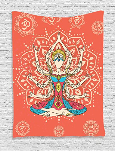 Yoga Decor Tapestry Wall Hanging by Ambesonne, Yoga Technique with Ethnic Costume Insignia Zen Discipline Your Body and Mind Artprint, Bedroom Living Room Dorm Decor, 60 x 80 Inches, Cream Red Teal (Teal And Red)