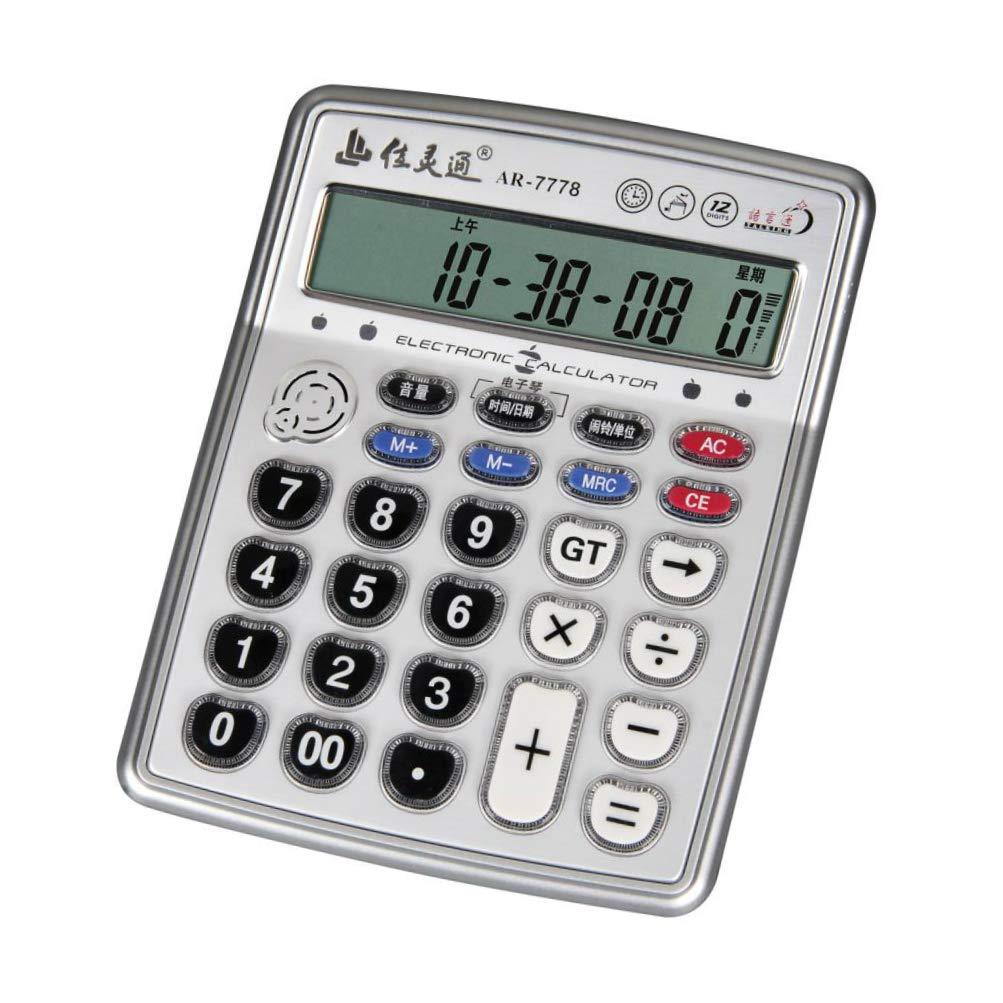 VISUO BEST Musical Function Electronic Calculator AR-7778 Portable 12-Digits LCD Display Calculator with Alarm Clock and Mini Instrument Desktop, Can Play Piano Senbon Zakura Calculator Luxury Version