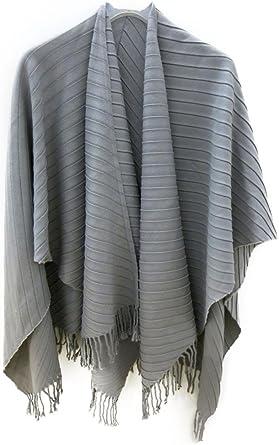 Pieghettato Design grey accessu/® Poncho Cape Cappa Mantella da Donna