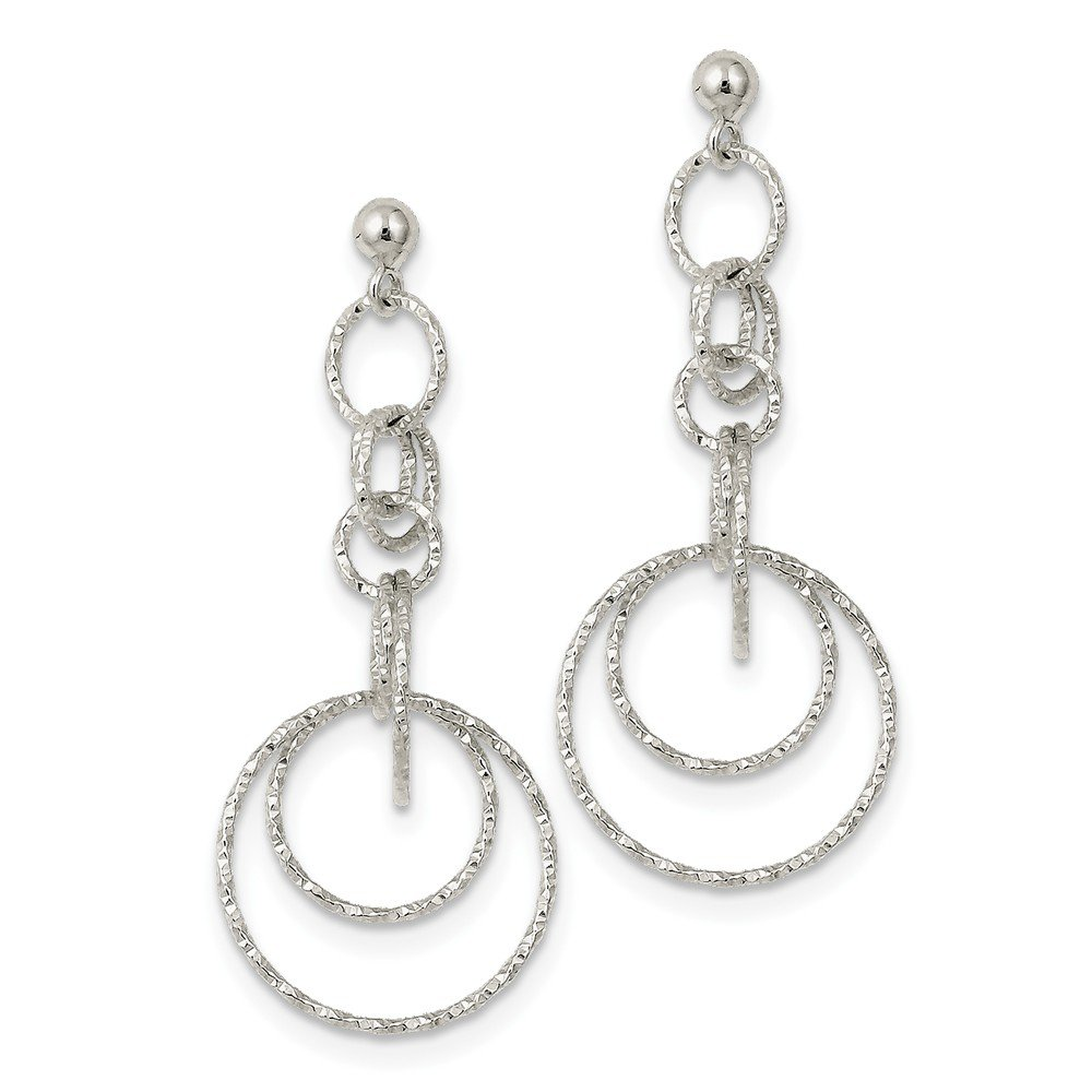KC Jewelry Sterling Silver Textured Circle Post Dangle Earrings and a pair of 4mm CZ Stud Earrings