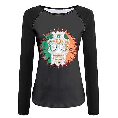 2d3661491ff72 St Patrick s Day Irish Sugar Skull Clover Women s Crew Neck Long Sleeve Raglan  T-Shirts