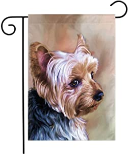 Yorkie Dog Garden Flag Welcome - Dogs House Flags Yorkshire Flags Double Sided Dog Welcome Outdoor Seasonal Flags Small Yorkie Mom Banners and Flags 12x18