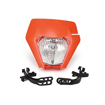 Motorcycle 2020 Universal Plastic Headlight Headlamp Frontlight For KTM EXC SXS SX EXC XC XCF XCW XCFW SXF SMR MX EGS 50-525 (Orange): Automotive
