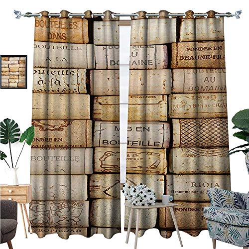 Winery Waterproof Window Curtain Different Wine Corks Arranged in a Line Collections French Aged Fine Wine Art Blackout Draperies for Bedroom W72 x L108 Ivory Pale Brown