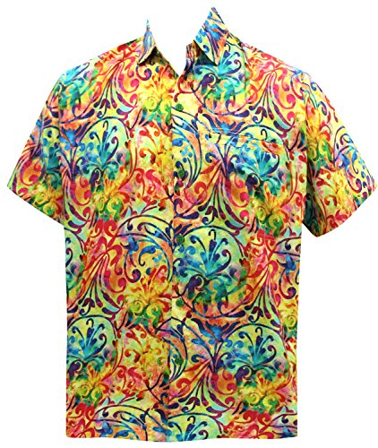 La Leela* acient Bouton Hawaiien Plage Légère Hommes Occasionnels Chemise en Forme Détendue Vers le Bas Multicolor