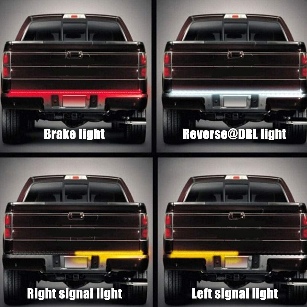 LHIABNN 60 Inches Tailgate Strip Light,Universal Car LED Flexible Running//Reverse//Brake//Turn Signal Light for Jeep//Chevy//GMC//Ford//Dodge Ram Pickup Trucks RV SUV,No Need Drill