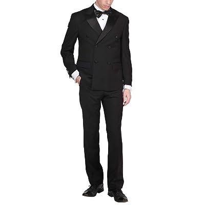 Adam Baker Men's Formal Regular Fit 2-Piece Double Breasted Peak Lapel 100% Wool Tuxedo at Men's Clothing store