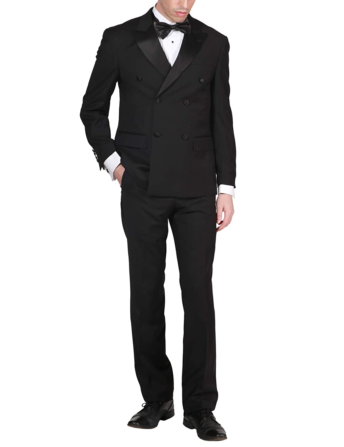 Adam Baker Mens Formal Regular Fit 2-Piece Double Breasted Peak Lapel 100/% Wool Tuxedo
