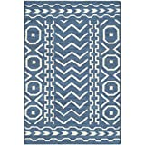 Safavieh Dhurries Collection DHU572A Hand Woven Dark Blue and Ivory Premium Wool Area Rug (2'6″ x 4′)