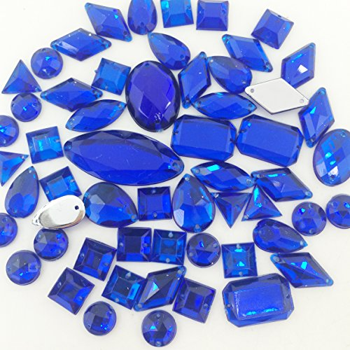 PEPPERLONELY 50PC Sew On Sapphire Mixed Shape & Size Flat Back Faceted Acrylic Crystals Rhinstones, 8x15~12x30mm(5/16x9/16~1/2x1-3/16 Inch) (Rhinstone Crystal)