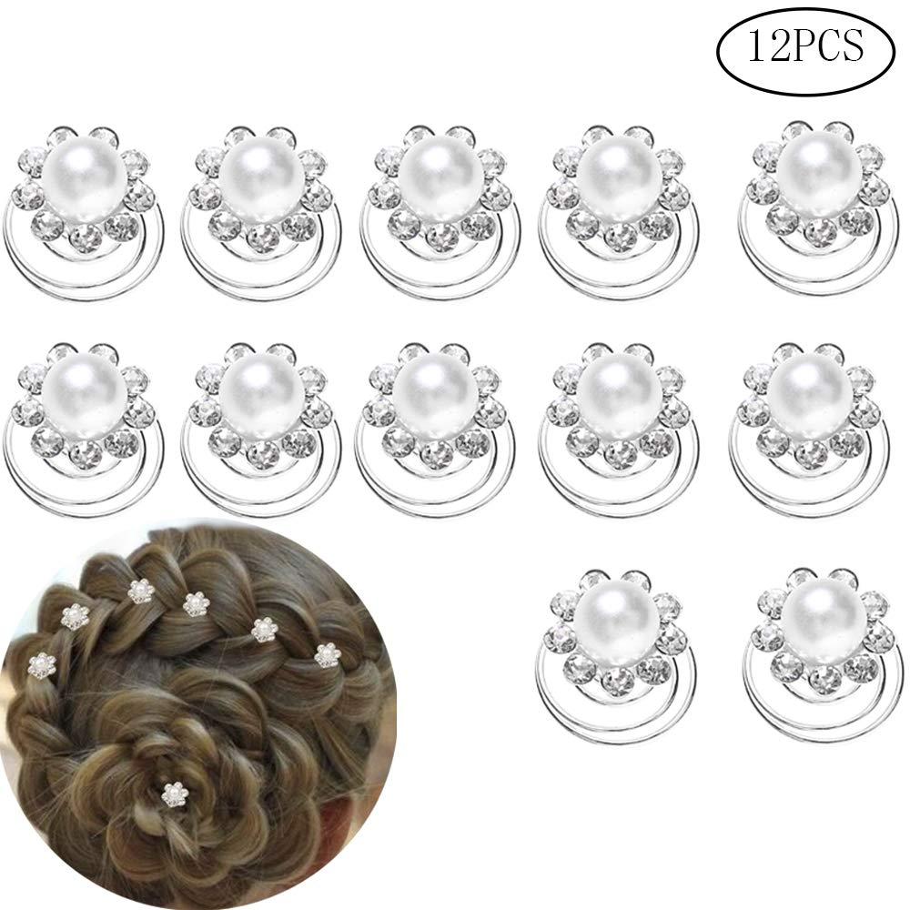 Sicai Fermagli per Capelli a Spirale con Cristalli e Perla, Clip per Capelli, Accessori per Donne, Ragazze, Spose e Matrimoni