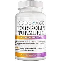 Codeage Forskolin, Pure Forskolin Coleus + Organic Turmeric Root Powder, 95% Curcuminoids...