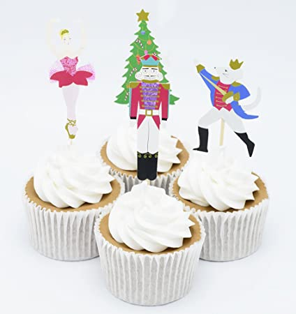 BETOP HOUSE Set Of 24 Pieces The Nutcracker And Mouse King Themed Party Decorative Cupcake