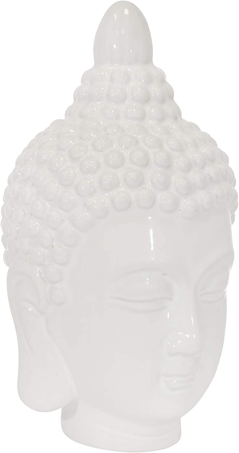"Sagebrook Home 14526 Ceramic 10"" Buddha Head, White, 6 x 6 x 10"