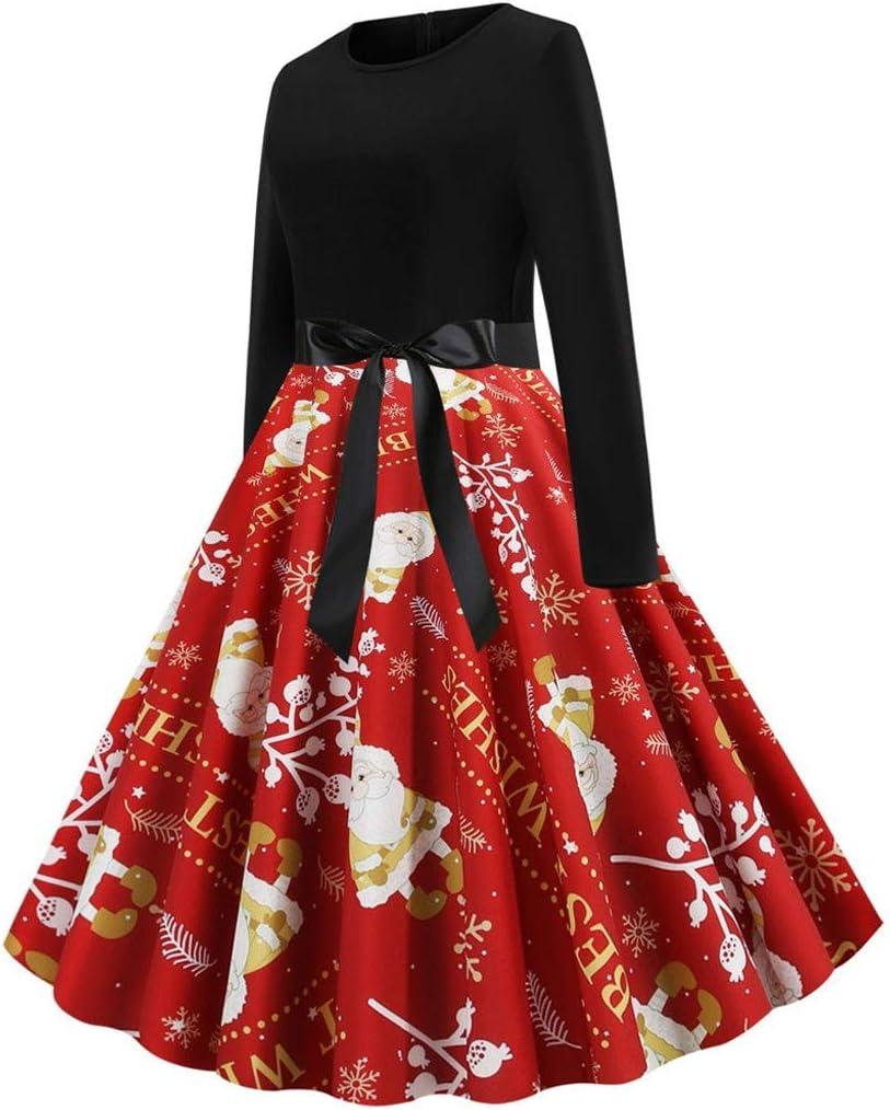 ZODOF vestido navideño mujer Cuello de Encaje Hueco de Las Mujeres ...