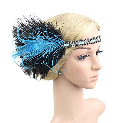 2634107236bf0 Amazon.com  Vintage Flapper Headband Women 1920s Gatsby Feather Headpiece  for Wedding Party Bridal Hair Accessories Blue  Clothing