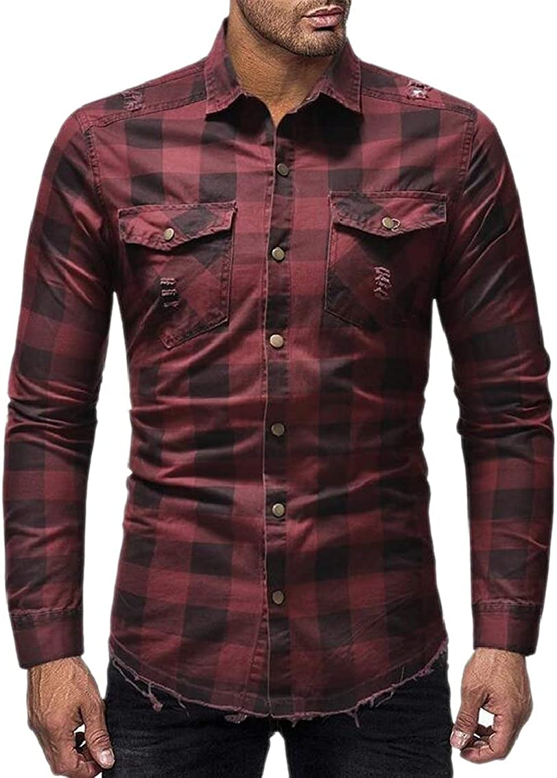 Joe Wenko Mens Long Sleeve Business Turn Down Printing Button Up Shirts
