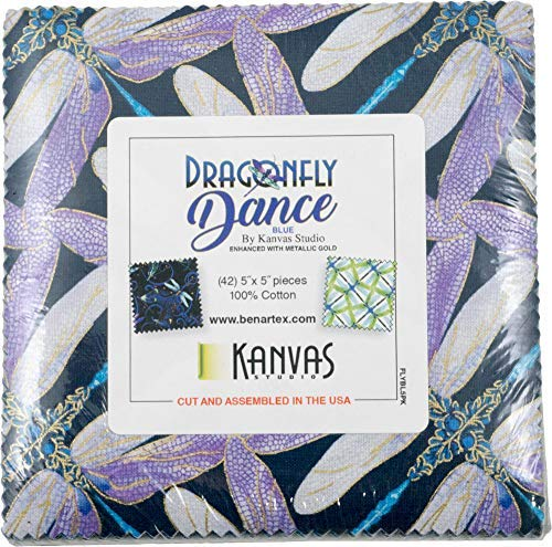 Kanvas Studio Dragonfly Dance Blue 5X5 Pack 42 5-inch Squares Charm Pack Benartex, Assorted