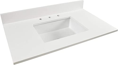 Vanity Top Designed with Corian Quartz and K-2882-0 Kohler Verticyl Undermount Rectangular Sink 22 x 37 , Snow White