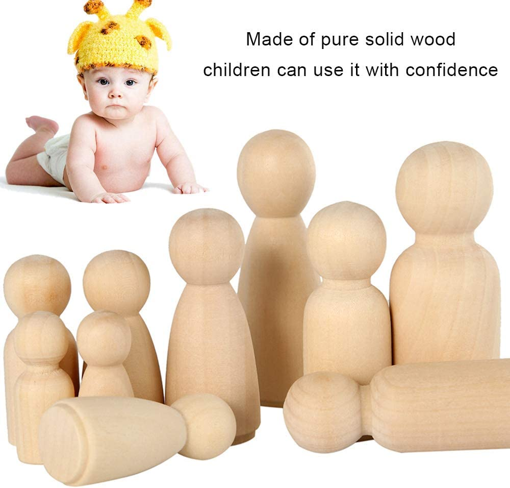37PCS Peg Dolls Wooden Crafts Kit with Hat Female Male Wooden Peg Doll Bodies Tiny Wood Peg Dolls People Decorations Unpainted Graffiti Toy Wood for Kids Gift Art and Creative DIY