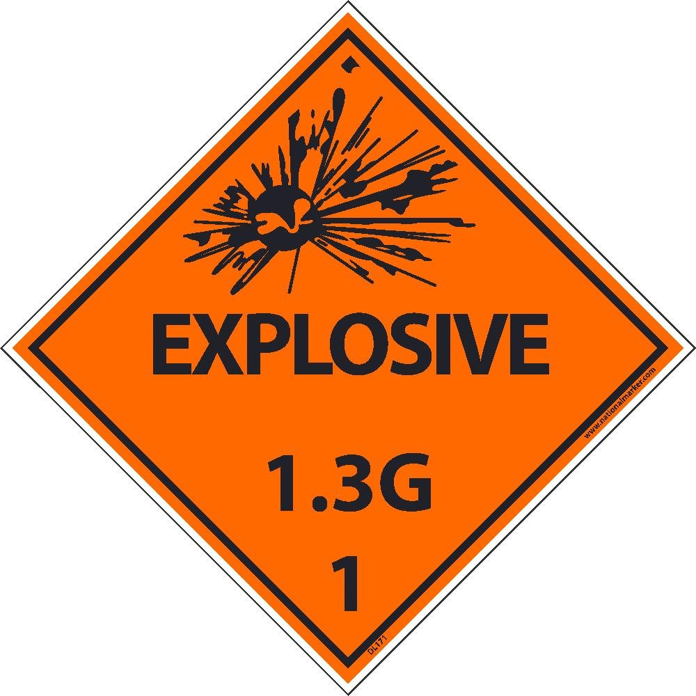 DL171ALV National Marker Dot Shipping Label, Explosive, 1.3G, 1, 4 Inches x 4 Inches, Ps Vinyl, 500/Roll