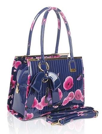 eb542def3d88 Ladies Women s Fashion Designer Patent Butterfly Print Shoulder Bag Hot  Selling Shinny Cross Body Handbag CWRJ150601 (Blue)  Amazon.co.uk  Clothing