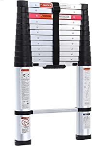 Lionladder 12.5FT ANSI Type I Aluminum telescoping ladders - Extendable Slow-Down Telescopic Ladder