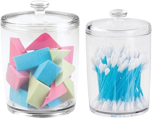 mDesign Juego de 2 botes herméticos con tapa para discos de algodón – Práctico dispensador de algodón, sales de baño, cosméticos y demás – Envases para cosméticos de plástico resistente – transparente: Amazon.es: Hogar