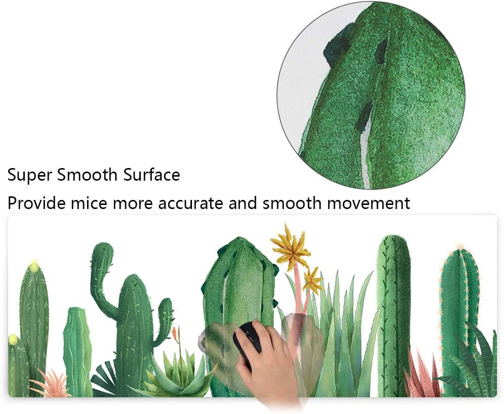 Mouse Pad Extended Keyboard Mousepad Desk Pad Desk Mat with Premium Textured Cloth Non-Slip Rubber Base Stitched Edges XXL XL Large Gaming Mouse Mat - Cactus 31.5x11.8x0.12 Inch