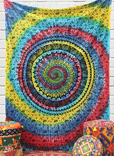 The Indian Craft Colorful Psychedelic Mandala Tapestry - Tie Dye Bohemian Wall Hanging Elephant Tapestries Hippie Wall Decor Twin Size Bedding - Multicolor - 84 X 54 Inches -