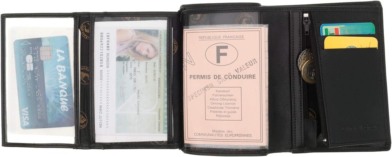 100/% Cuir de Vachette Porte Monnaie Portefeuille Elephant D Or SECRETDRESSING 14 cm X 10 cm Marron