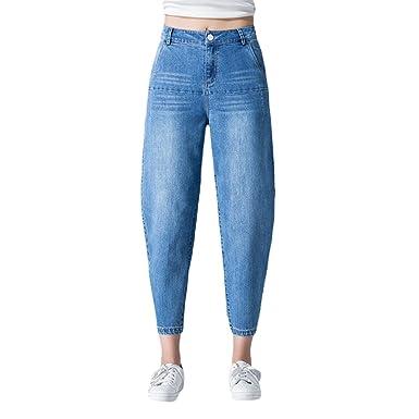 LINNUO Boyfriend Jeans Les Mujer Vaqueros Cintura Alta Vaqueros Anchos Holgados Flojos Mujeres Estilo Casual Harén Pantalón Jeans