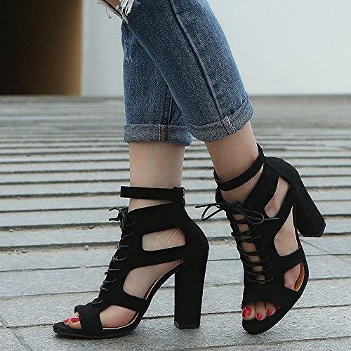 les Super Frottent Talons Femme Femmes Creux Liées Noir Rome Escarpins Chaussures chaussures À Bas wqqBvn51t